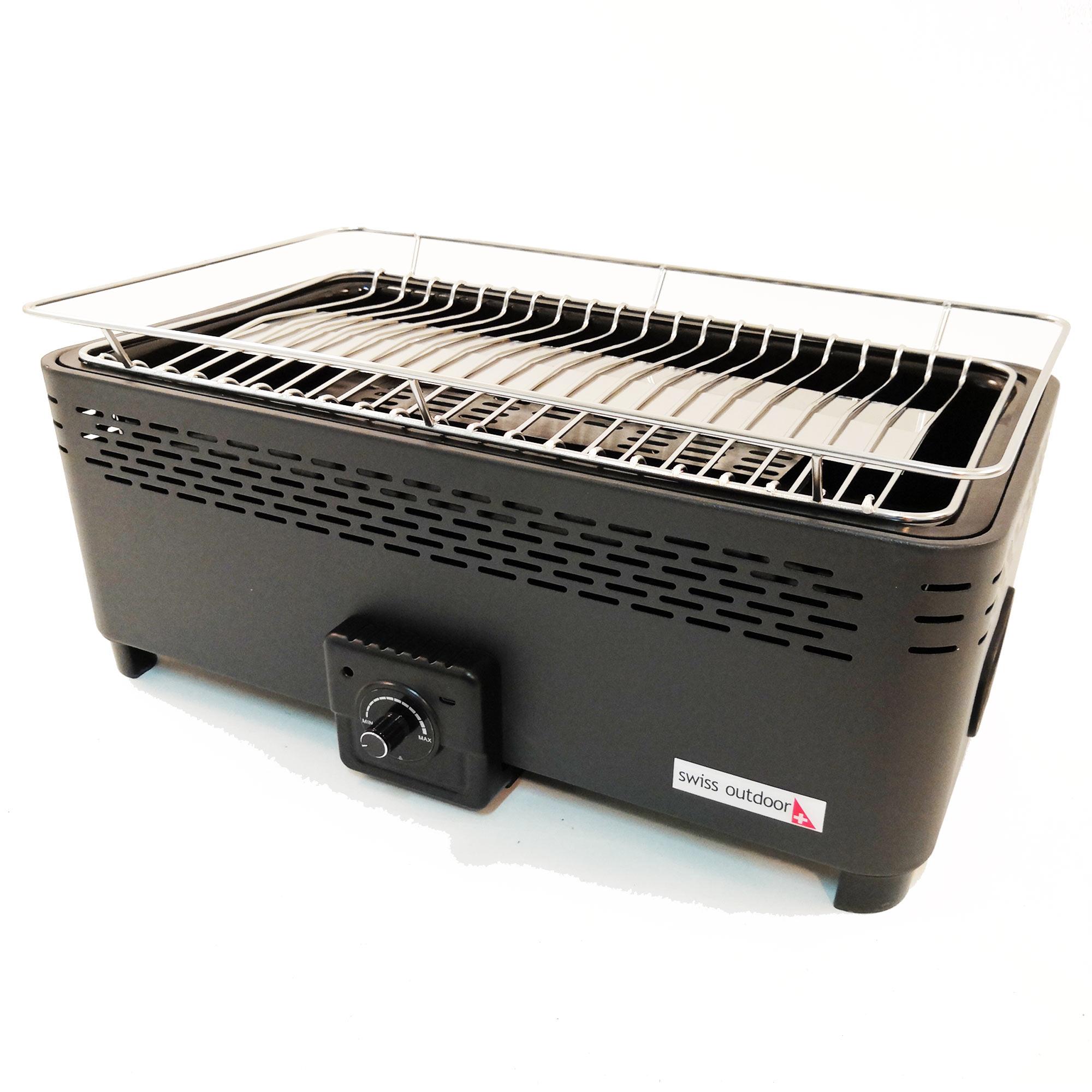 swiss outdoor montreux-400 rauchfreier tisch-grill bbq mit lüfter in